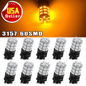 10pcs 3157 3156 3057 Amber 60smd Turn Signal Backup Reverse Led Light Bulbs 12v