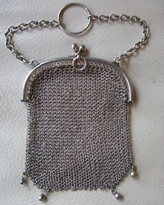 Antique Victorian Bright Silver Mesh 4 Ball Finger Ring Chatelaine Coin Purse