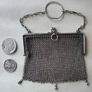 Antique Victorian Sterling Silver Mesh 3 Ball Finger Ring Chatelaine Coin Purse