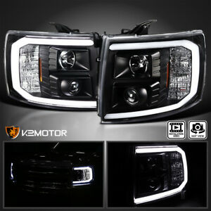 For 2007 2013 Chevy Silverado 1500 2500hd Led Bar Black Projector Headlights