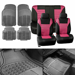 Pink Auto Seat Covers Combo With Gray Floor Mats For Car