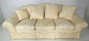 91 Beige Down Filled Damask Silk Upholstered Sofa Couch Loveseat Settee Chaise