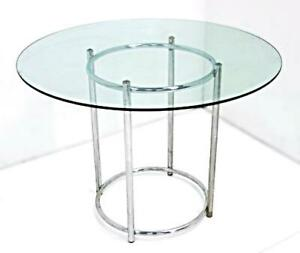 Glass Top Round Dinette Table Coffee Side End Mid Century Modern Set Dining