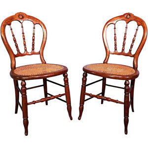 Pair 2 Side Chairs Victorian Cane Dining Accent Settee Armchair Vintage Antique