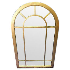 Huge 58 H Art Deco Arched Heavy Wood Frame Wall Mirror Vintage Antique Modern