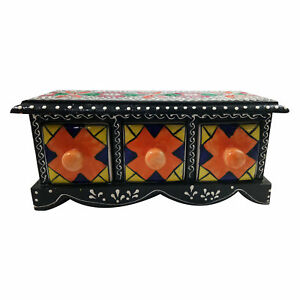 Jewelery Box Gift Handmade Wooden Ceramic Small Chest Of 3 Decorated Drawers