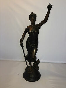 Antique 1800s French Bronze Spelter Statue Victorian Woman Fabrique Francaise