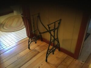 Vintage Cast Iron White Treadle Sewing Machine Base Table Legs Stand