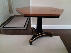 Vintage Black And Gold Empire Style Side Tables Baker Hollywood Regency