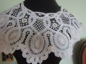 Lovely Large Antique Handmade Tape Lace Bertha Collar