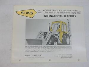 Sims International Harvester 2500b Backhoe Loader All Weather Cab Brochure