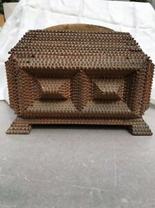 Antique Tramp Art Sewing Box Hand Made Victorian 19c