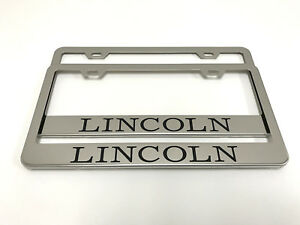 2 Stainless Steel Chrome Polished Metal License Plate Frame Lincoln