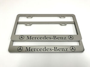 2 Stainless Steel Chrome Polished Metal License Plate Frame Mercedes Benz