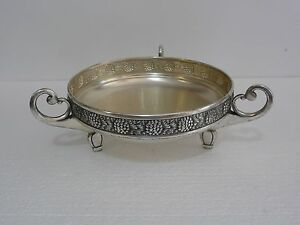 Beautiful Rare Silverplated Brass Wmf Art Nouveau Footed Bowl Planter 1910 S