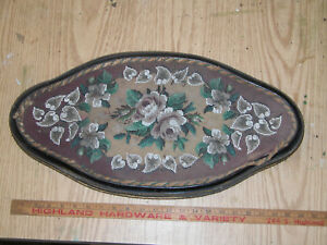 Antique Victorian Beadwork Woolwork Floral Embroidery Tray C1860 1870