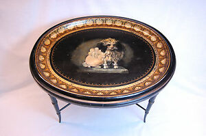 19th Century English Regency Oval Papier M Ch Tray On Black Lacquered Base