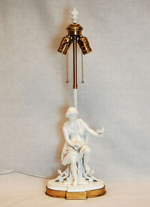 Table Lamp W Classical Greek Figure Of A Male With Doves On Brass Base