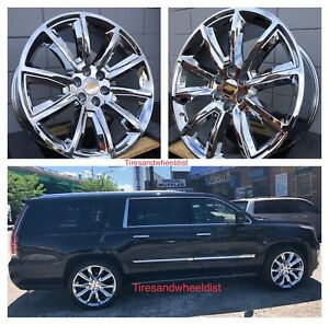 24 Chevy Gmc Wheels Cv73 Chrome With Tires Chevy Tahoe Sierra Suburban Yukon
