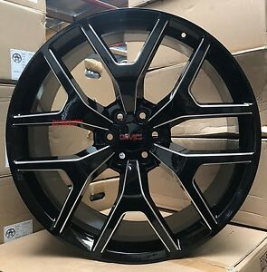 26 Inch Gmc Sierra Wheels Black Milled Tires Denali Chevy Tahoe Yukon Suburban