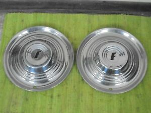 1951 Ford Accessory Trim Beauty Rings 15 W dog Dish Hubcaps Pair 51