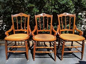 Set 3 Antique Solid Maple Chairs Cane Woven Seat Spindle Back Arms Bracers