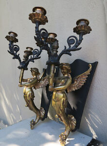 2 Sconces Deco Mermaid Brass Plate Spelter Lamp Lady Candelabra Candle Vintage