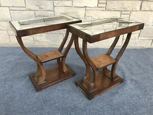Pair Of Art Deco Gilbert Rohde Style Walnut Mirrored Etched Glass End Tables