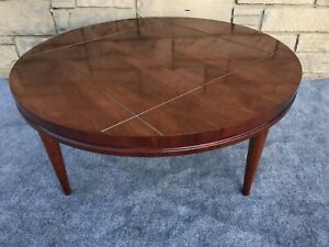 Mid Century Modern Lane Hy Lite Collection Brass Wood Round Coffee Table 24