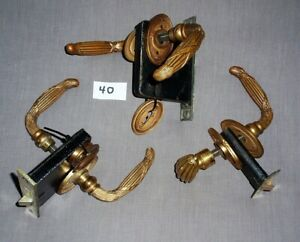 Three Matching Pre 1900 Victorian Brass Lock Sets With Lever Door Handles Rare