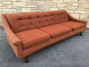 Mid Century Danish Modern Tufted Curved Back Jens Risom Style Sofa In Orange