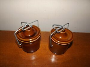 Set Of 2 Small Brown Vintage Farmhouse Crocks W Bale Wire Lid