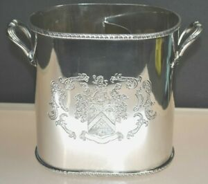 Rare Antique Silver Plated Hotel Wine Champagne Bucket Hollywood Regency