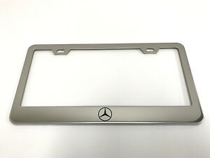 1 Stainless Steel Chrome Polished Metal License Plate Frame Mercedes Logo