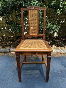 Antique Maple Colonial Revival Woven Cane Seat Back Sheraton Style Side Chair