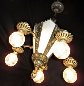 Vtg Art Deco Cast Iron Slip Glass Shade Ceiling Light Fixture Chandelier 1930 S