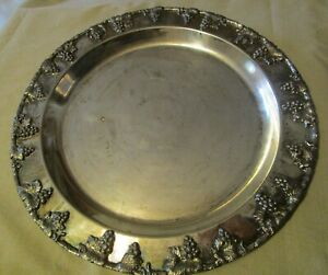 Tray Round Large Silver Plate 14 1 2 Grapevine Design No Handle Vintage Rare