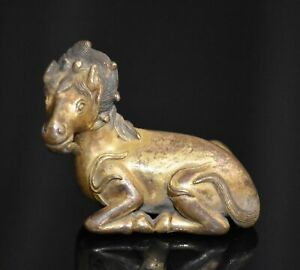 Good Chinese Qing Dy Old Copper Gold Plating Carved Strange Horse L 6 7 Cm