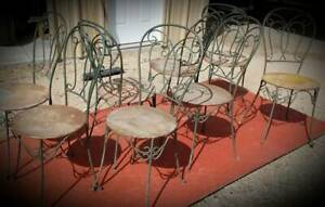 8 Chairs Vintage Metal Bistro Patio Cottage Ice Cream Shoppe Lovely Condition
