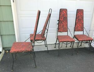 4 Metal Funky Dinette Dining Chairs Mid Century Modern