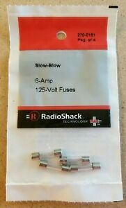 New Radioshack 6 Amp 125 Volt Slow blow Fuses 5 20mm 270 0151 free Shipping