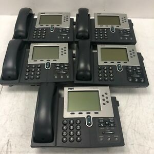 Lot Of 5 Used Cisco Ip Phone 7900 Series Cp 7961g Telephones No Cords