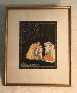 Antique Framed Miniature Northern Indian Mughal Watercolor Gouache Painting