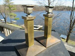 Vintage 1920 S Mission Arts And Crafts Bradley And Hubbard Candlesticks 205