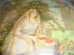 Very Rare Antique Framed 1878 Victorian Woman W Bible Geo Stinson Lithograph