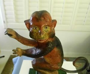 Antique Cast Iron Whimsical Old Monkey Doorstop 11 1 2 Inches Tall