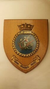 Vintage Hms St George Royal Navy Ship Plaque Wall Shield Hand Painted