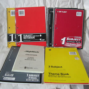 Lot Of 7 Notebook Pads College Wide Gregg Rule Ruled Subject Theme Vintage