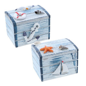 Two Small Treasure Chests Wooden Trinket Chests Light Blue W Anchors