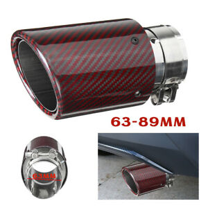 63 89mm Universal Red Carbon Fiber Car Exhaust Pipe Tail Muffler End Tip Glossy